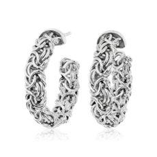 NEW Italian Sterling Silver Byzantine Hoop Earrings