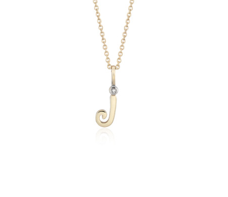 """J"" Mini Initial Pendant with Diamond Detail in 14k Yellow Gold"