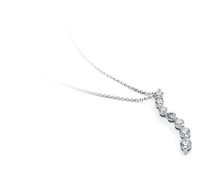 Diamond Curved Journey Pendant in 18k White Gold (1 ct. tw.)