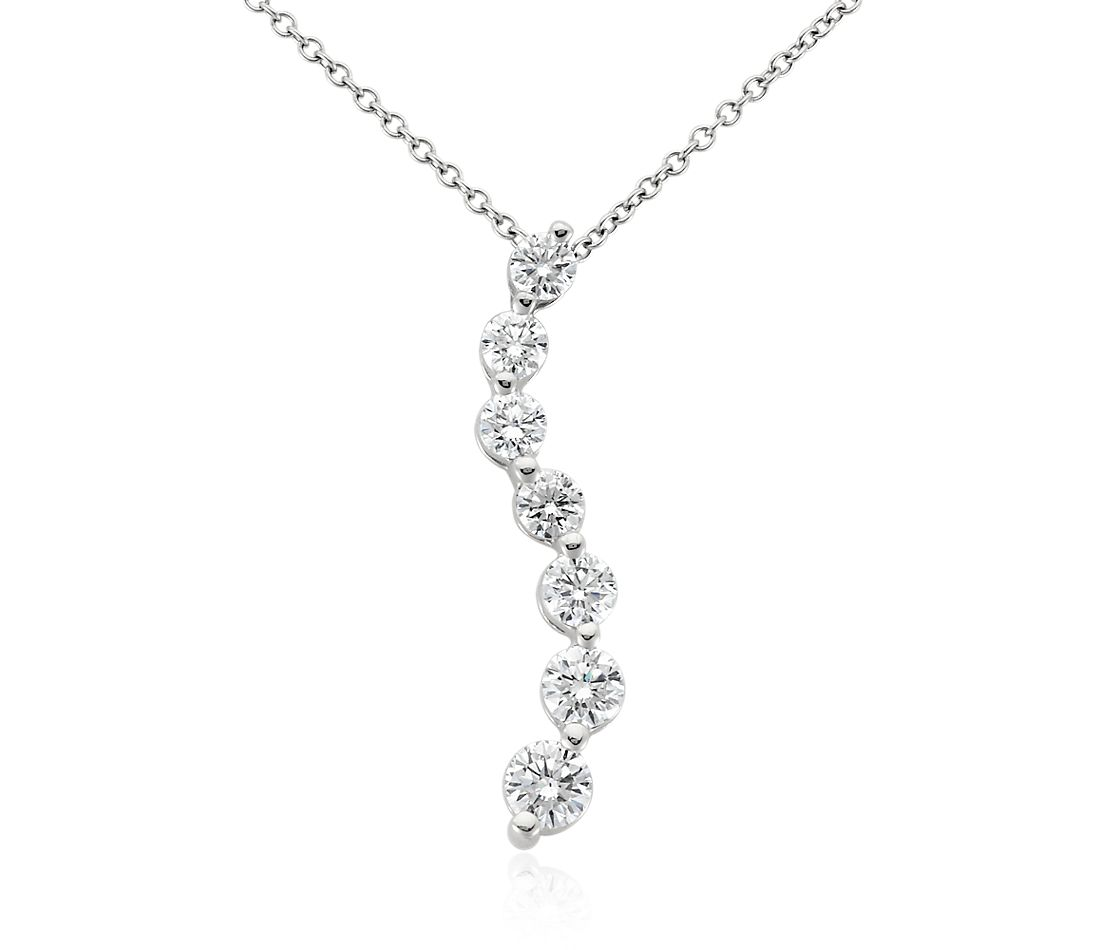 Curved Journey Diamond Pendant in 18k White Gold (2 ct. tw.)