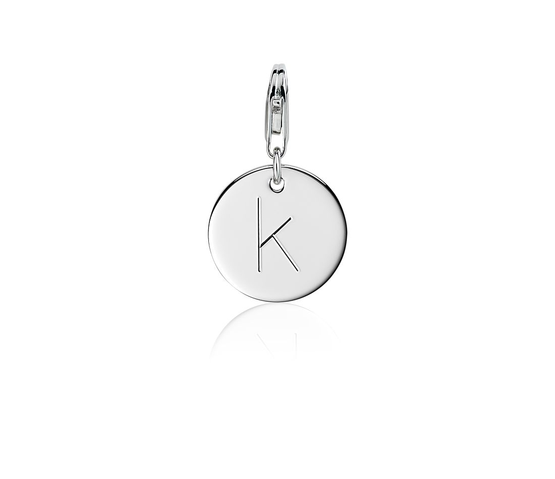 """K"" Initial Charm in Sterling Silver"