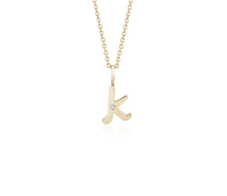 """K"" Mini Initial Pendant with Diamond Detail in 14k Yellow Gold"