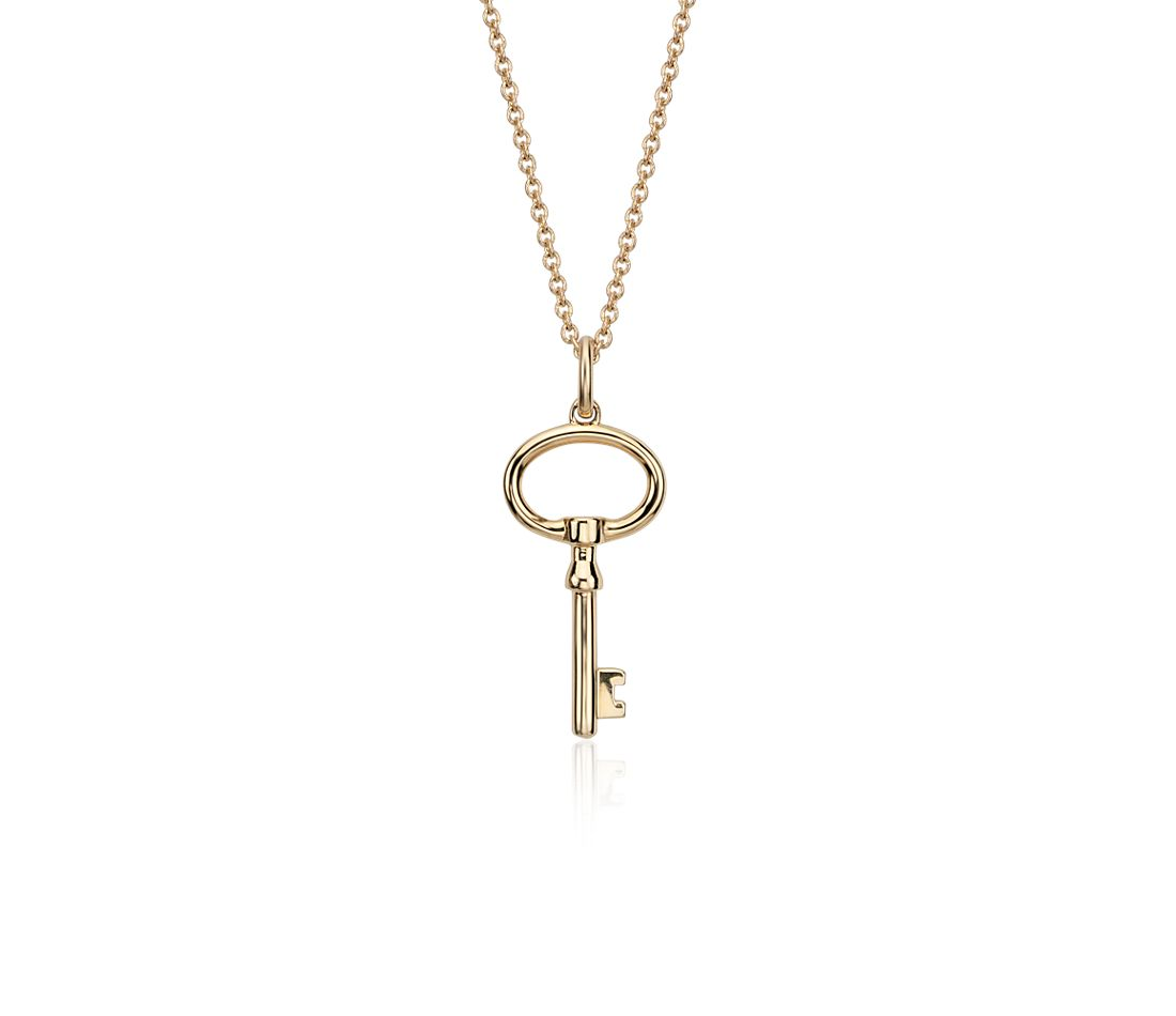 Petite Key Pendant in 14k Yellow Gold