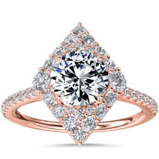 NEW Kite-Shaped Diamond Halo Engagement Ring in 14k Rose Gold (3/8 ct. tw.)
