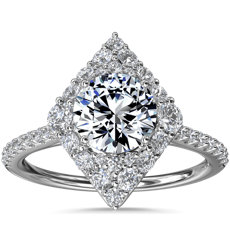 NEW Kite-Shaped Diamond Halo Engagement Ring in 14k White Gold (3/8 ct. tw.)