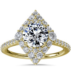 NEW Kite-Shaped Diamond Halo Engagement Ring in 14k Yellow Gold  (3/8 ct. tw.)