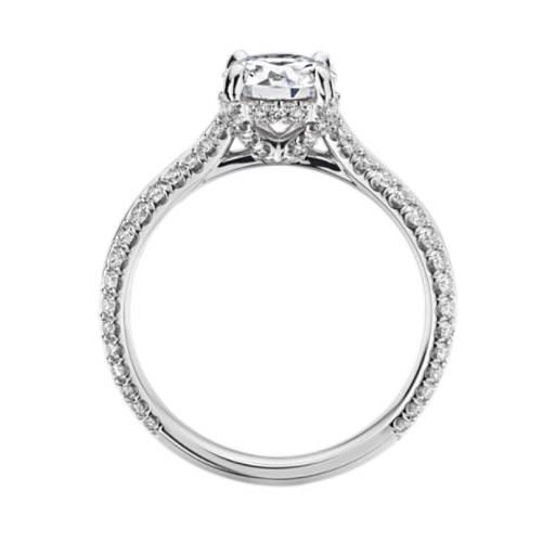 Blue Nile Studio Knife Edge Double Pave Cathedral Diamond Crown Engagement Ring