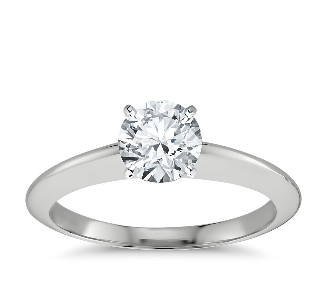 Nouveau Knife Edge Solitaire Engagement Ring in 14k White Gold