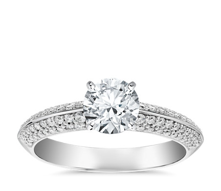 Knife Edge Micropavé Diamond Engagement Ring in 14k White Gold (1/3 ct. tw.)