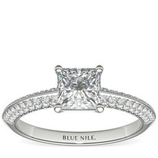 Knife Edge Micropavé Diamond Engagement Ring in 14k White Gold (1/3 ct. tw.)