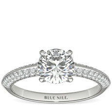 Knife Edge Trio Pavé Diamond Engagement Ring in 14k White Gold