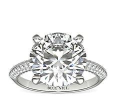 14k 白金刀锋微密钉钻石订婚戒指(1/3 克拉总重量)