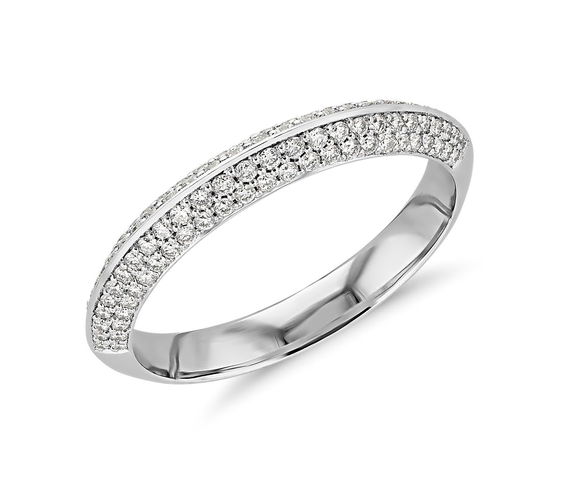 Knife Edge Micropavé Diamond Ring in 14K White Gold (2/5 ct. tw.)