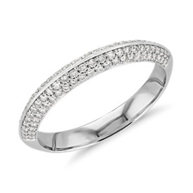 NEW Knife Edge Micropavé Diamond Ring in 14K White Gold (2/5 ct. tw.)