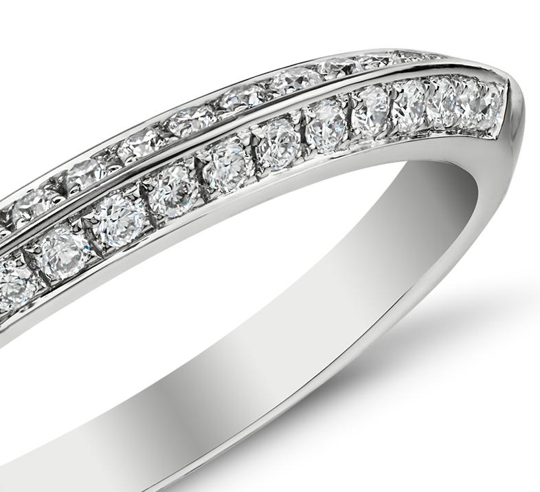Knife Edge Pavé Diamond Ring in 14k White Gold