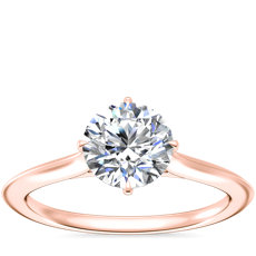NEW Knife Edge Solitaire Engagement Ring in 14k Rose Gold