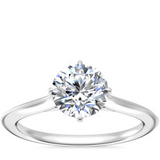 NEW Knife Edge Solitaire Engagement Ring in 14k White Gold