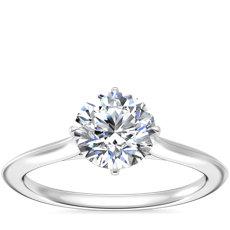 新款 14k 白金刀锋单石订婚戒指