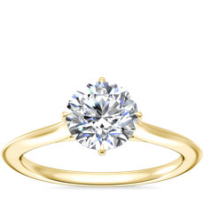 NEW Knife Edge Solitaire Engagement Ring in 14k Yellow Gold
