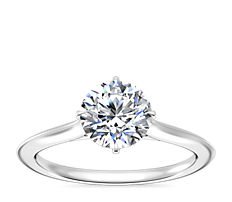 NEW Knife Edge Solitaire Engagement Ring in Platinum