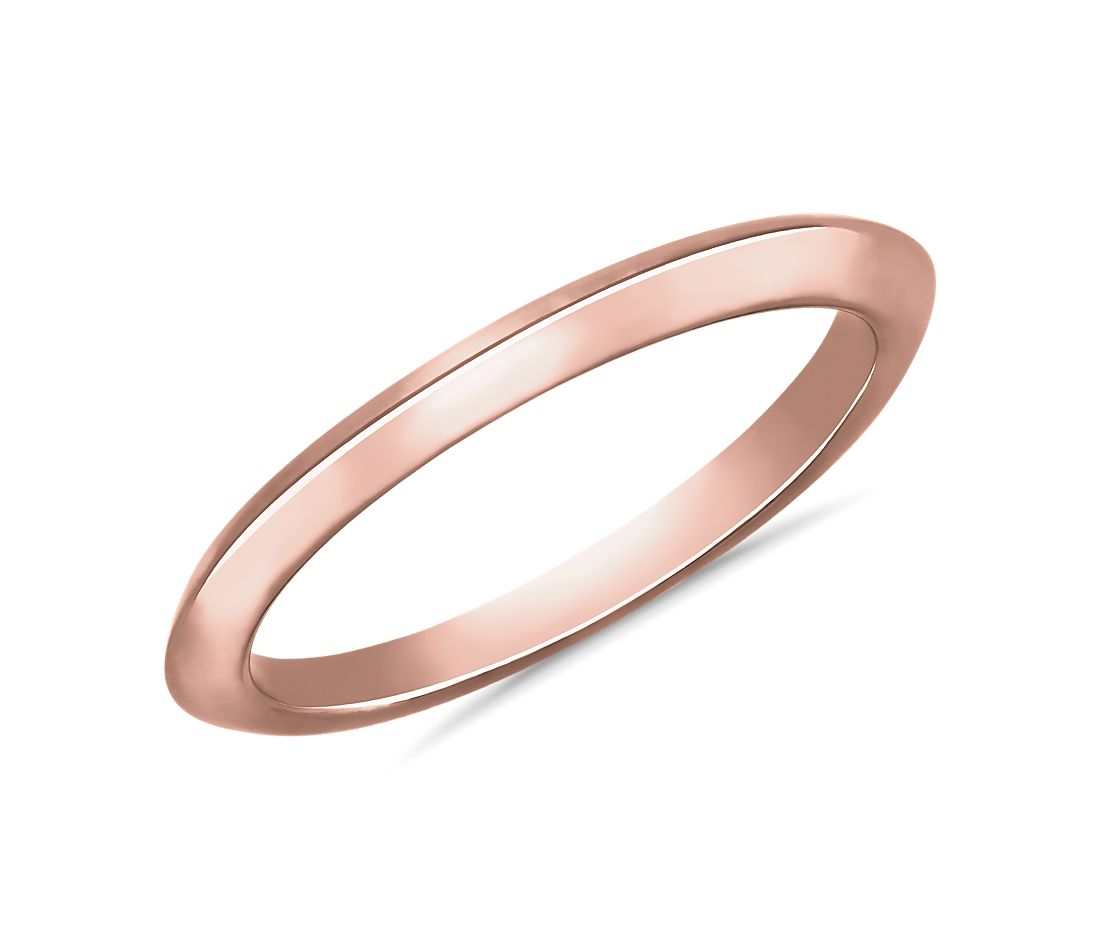 Knife Edge Wedding Ring in 14k Rose Gold