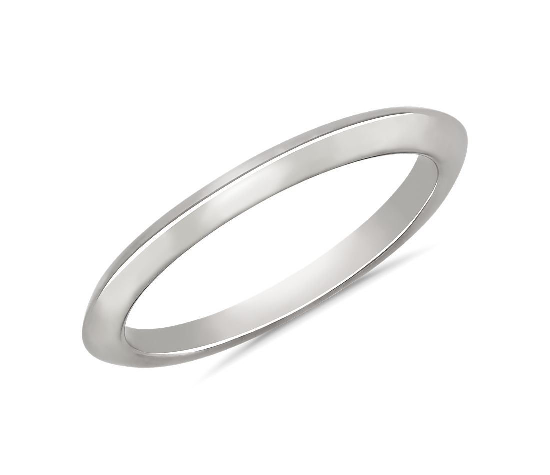 Knife Edge Wedding Ring in 14k White Gold
