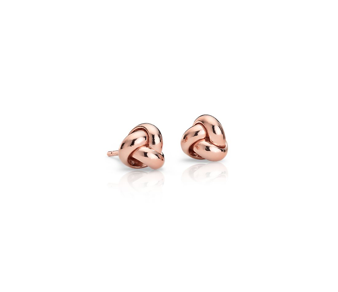 Petite Trio Love Knot Earrings in 14k Rose Gold (7mm)