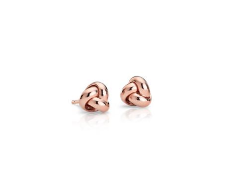 Aretes pequeños con tres nudos del amor en oro rosado de 14k (7mm)