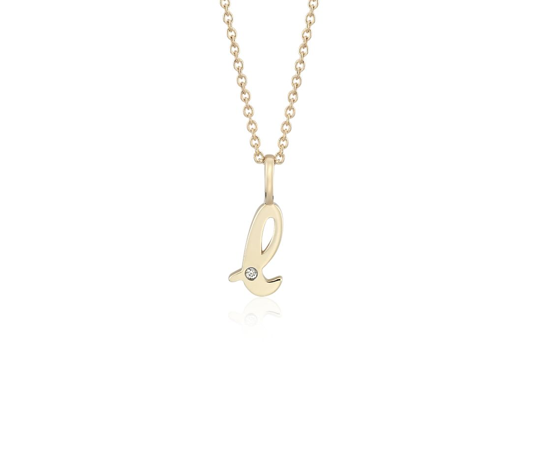 """L"" Mini Initial Diamond Pendant in 14k Yellow Gold"
