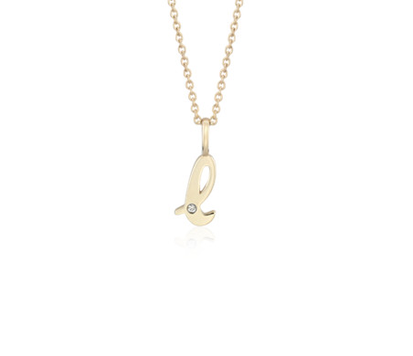 """L"" Mini Initial Pendant with Diamond Detail in 14k Yellow Gold"