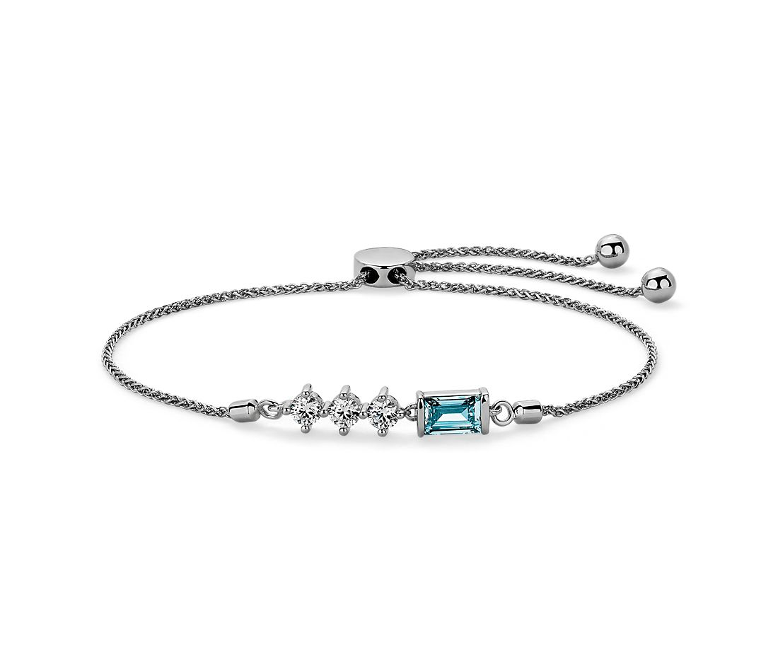LIGHTBOX Lab-Grown Blue & White Diamond Baguette Bar Bolo Bracelet in 14k White Gold (1 ct. tw.)