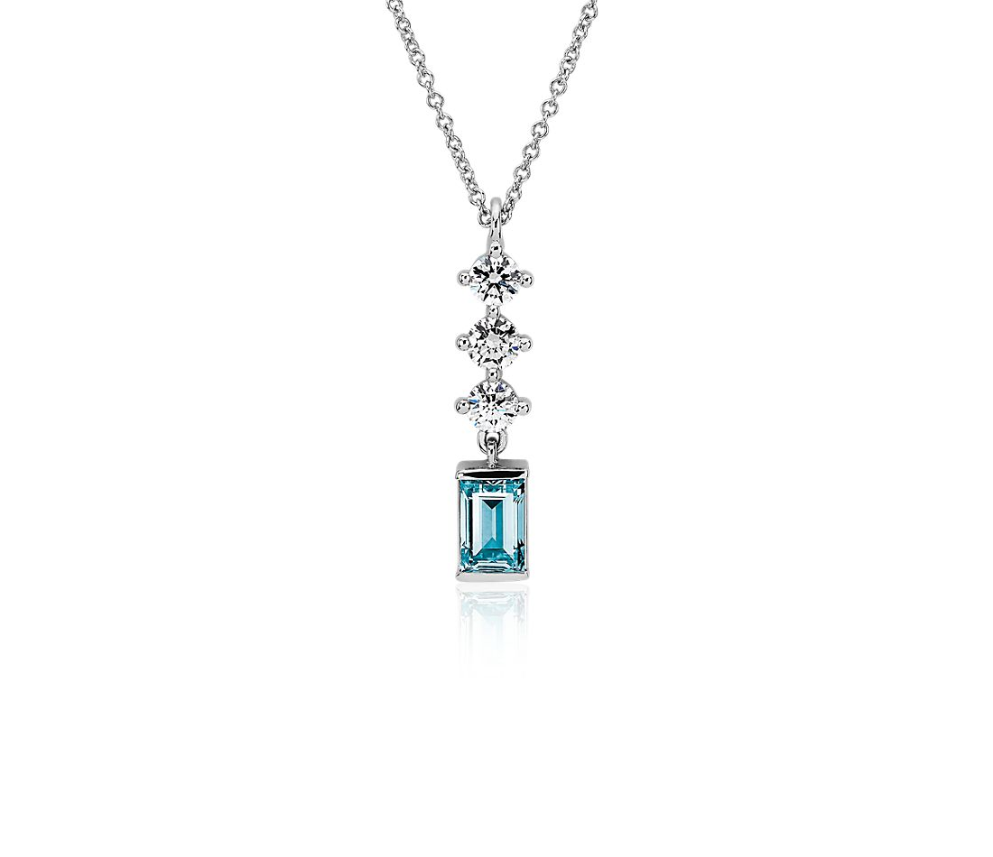 LIGHTBOX Lab-Grown Blue & White Diamond Round & Baguette Drop Bar Pendant Necklace in 14k White Gold (1 ct. tw.)