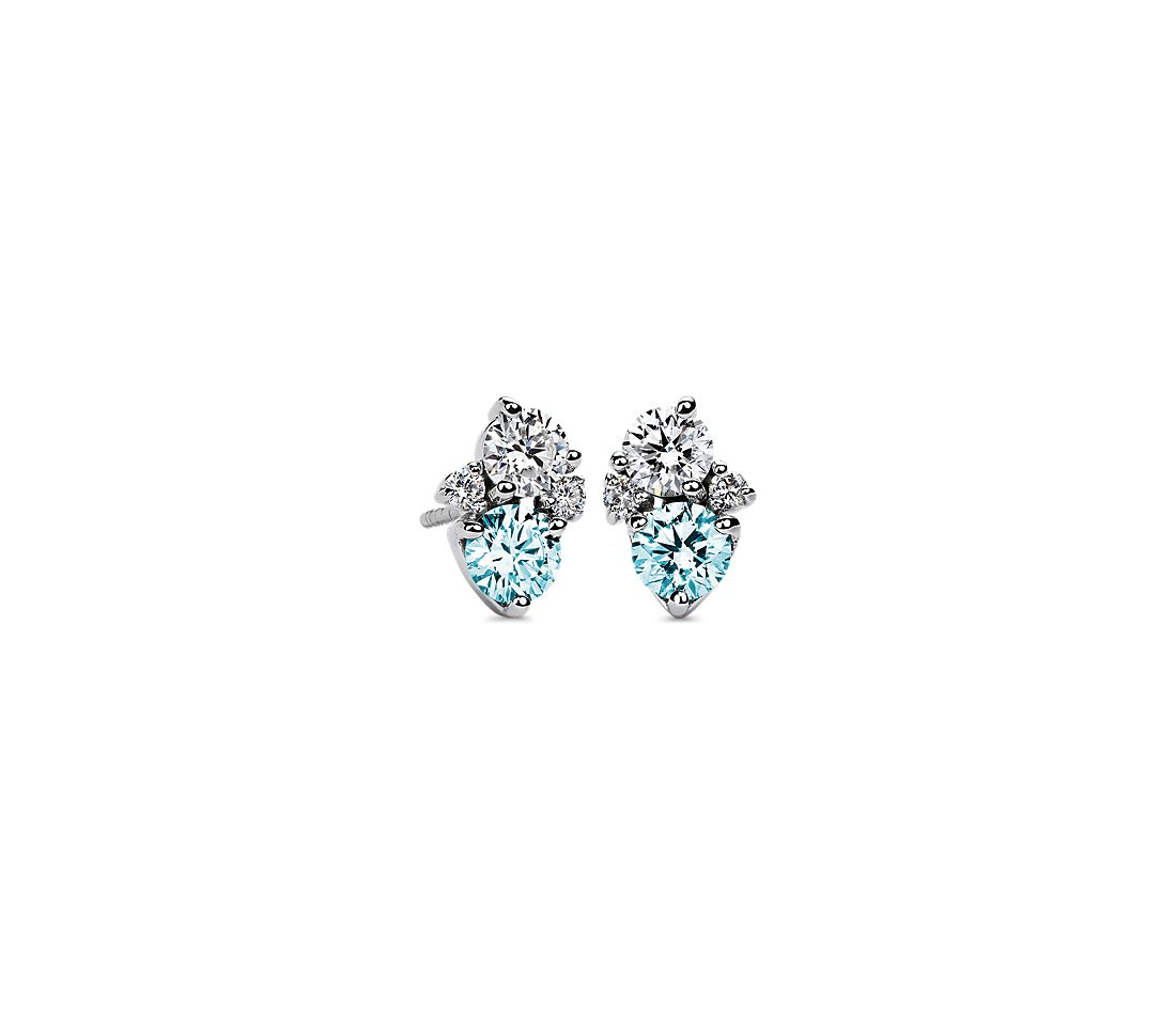 LIGHTBOX Lab-Grown Blue & White Diamond Round Cluster Earrings in 14k White Gold (1 ct. tw.)