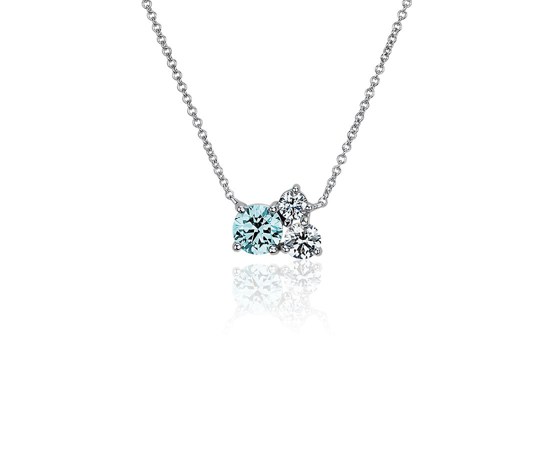 LIGHTBOX Lab-Grown Blue & White Diamond Round Cluster Pendant Necklace in 14k White Gold (1 ct. tw.)