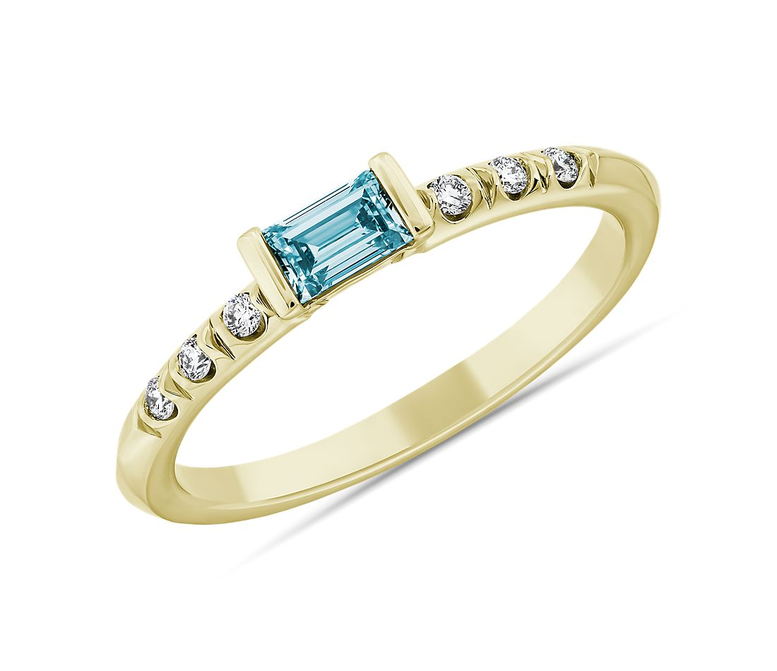 LIGHTBOX Lab-Grown Blue Diamond Baguette Stackable Ring in 14k White Gold (1/3 ct. tw.)