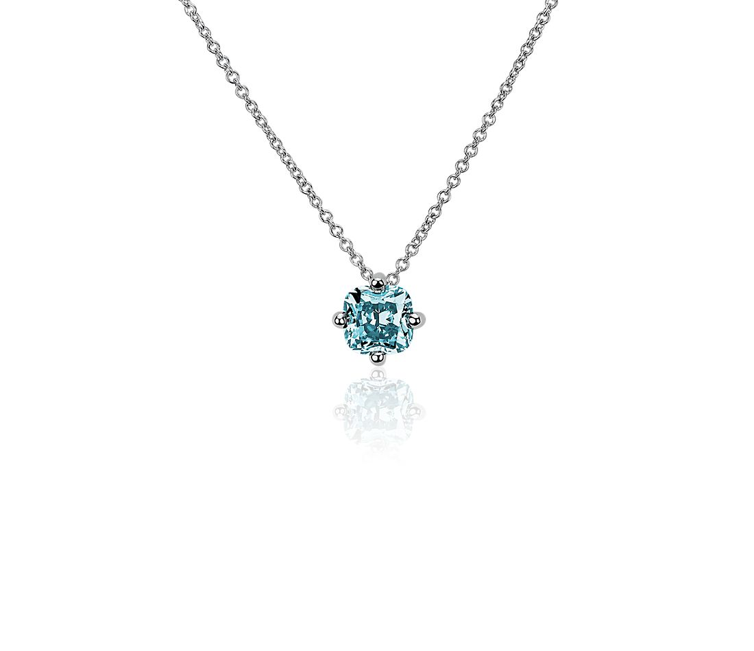 LIGHTBOX Lab-Grown Blue Diamond Cushion Solitaire Pendant Necklace in 14k White Gold (1 ct. tw.)