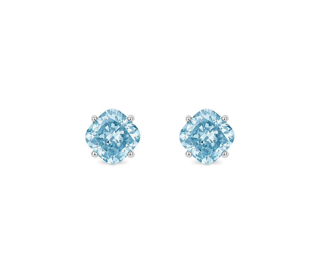 LIGHTBOX Lab-Grown Blue Diamond Cushion Solitaire Stud Earrings in 14k White Gold (1 1/2 ct. tw.)