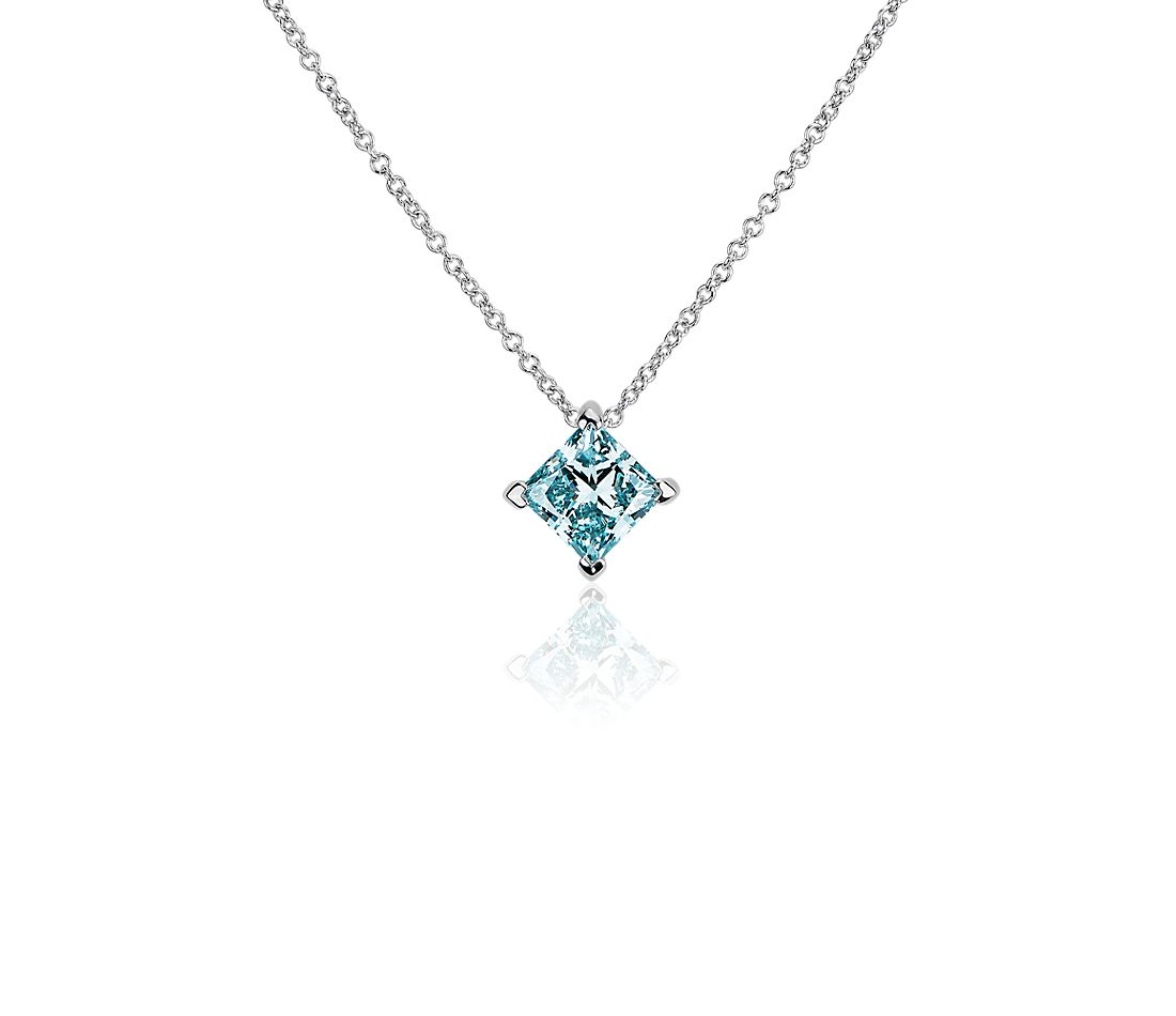 LIGHTBOX Lab-Grown Blue Diamond Princess Solitaire Pendant Necklace in 14k White Gold (1 ct. tw.)