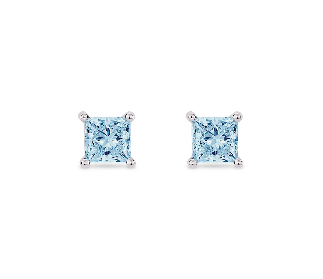 LIGHTBOX Lab-Grown Blue Diamond Princess Solitaire Stud Earrings in 14k White Gold (1 ct. tw.)