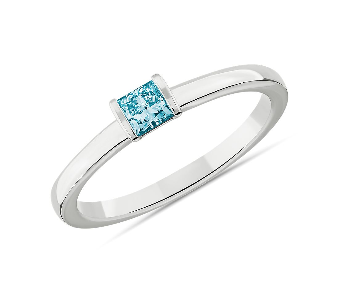 LIGHTBOX Lab-Grown Blue Diamond Princess Stackable Ring in 14k White Gold (1/4 ct. tw.)