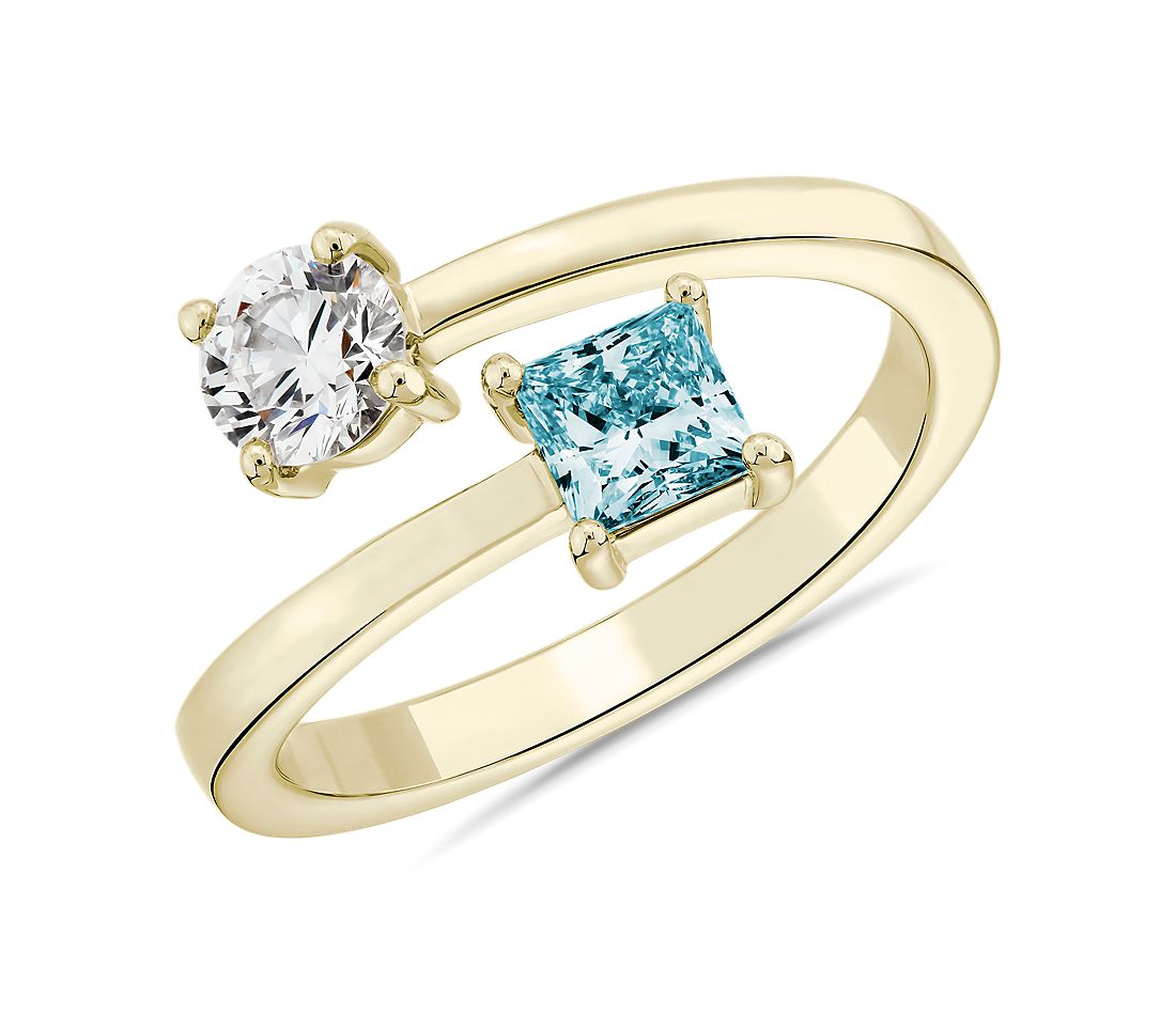 LIGHTBOX Lab-Grown Blue Diamond Round & Princess Bypass Ring in 14k Yellow Gold (1 ct. tw.)