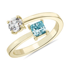 14k 黃金LIGHTBOX 實驗室培育藍色公主方形鑽石與圓鑽交錯環繞戒指(1 克拉總重量)