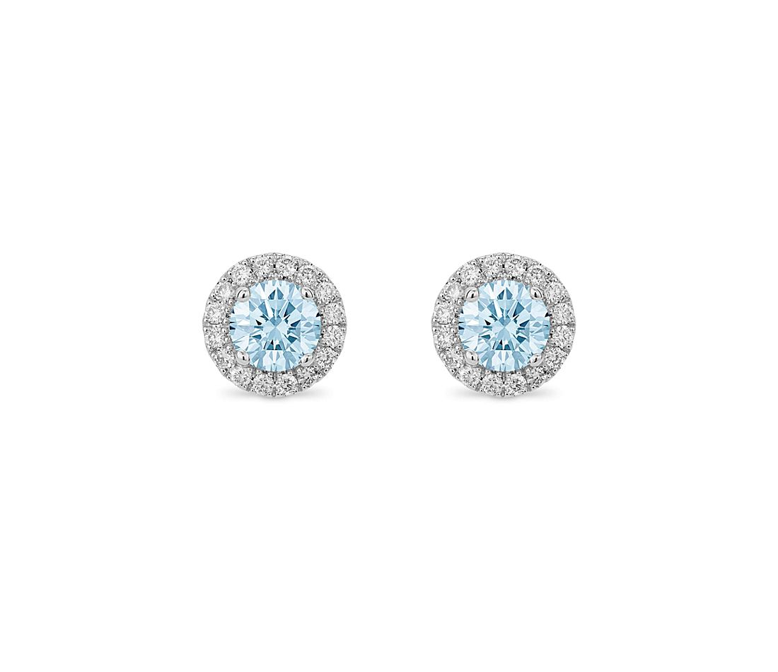 LIGHTBOX Lab-Grown Blue Diamond Round Halo Earrings in 14k White Gold (1 ct. tw.)