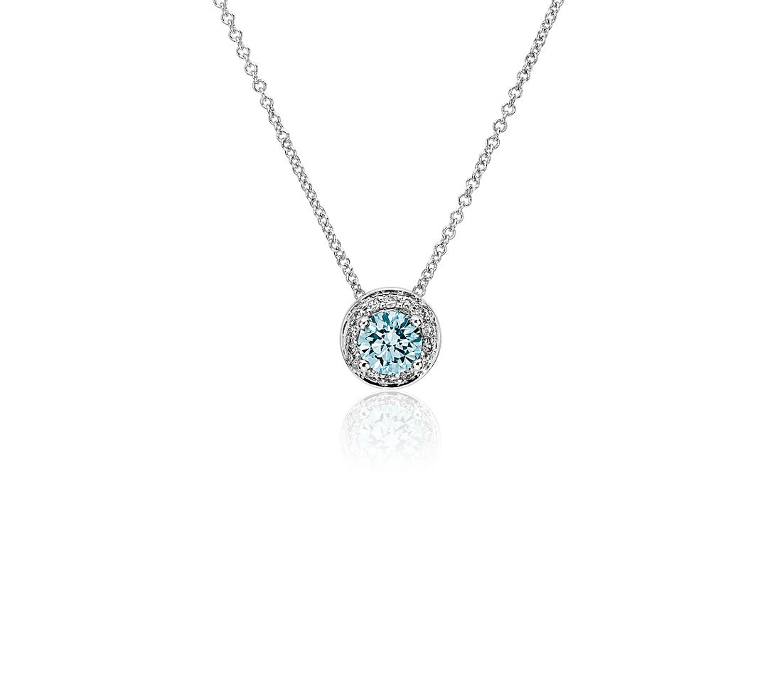 LIGHTBOX Lab-Grown Blue Diamond Round Halo Pendant Necklace in 14k White Gold (1/2 ct. tw.)