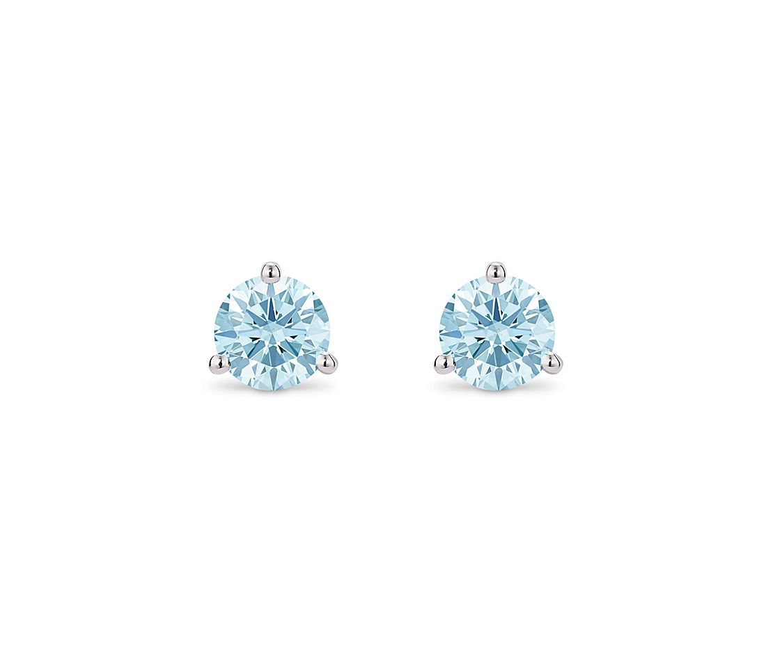 LIGHTBOX Lab-Grown Blue Diamond Round Solitaire Martini Stud Earrings in 14k White Gold (1 1/2 ct. tw.)
