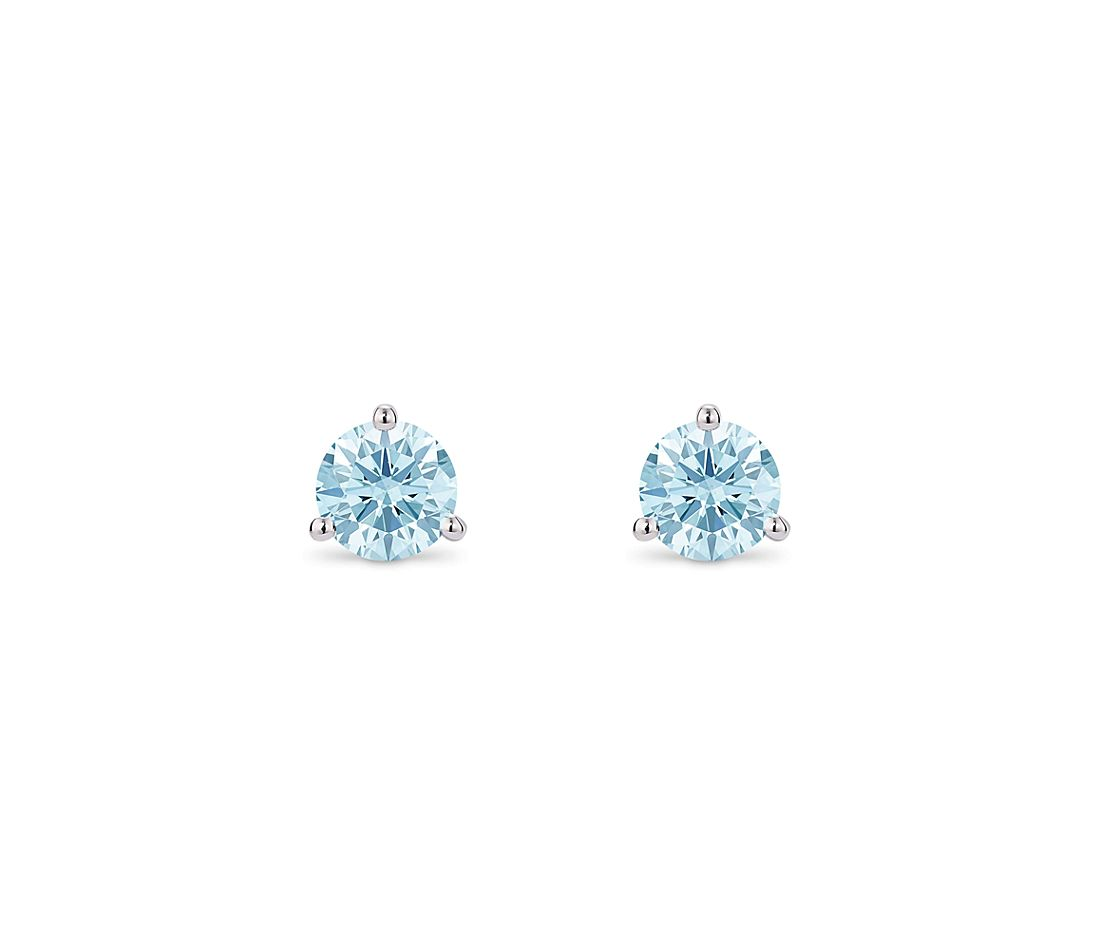 LIGHTBOX Lab-Grown Blue Diamond Round Solitaire Martini Stud Earrings in 14k White Gold (1 ct. tw.)
