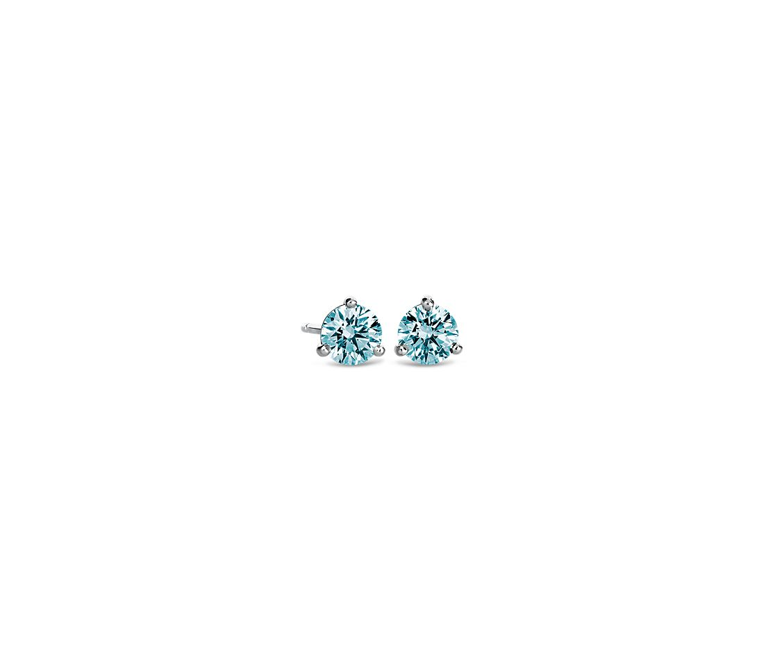 LIGHTBOX Lab-Grown Blue Diamond Round Solitaire Martini Stud Earrings in 14k White Gold (1/2 ct. tw.)