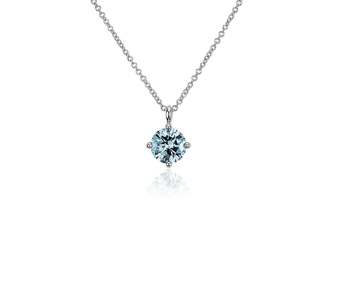 LIGHTBOX Lab-Grown Blue Diamond Round Solitaire Pendant Necklace in 14k White Gold (1 ct. tw.)