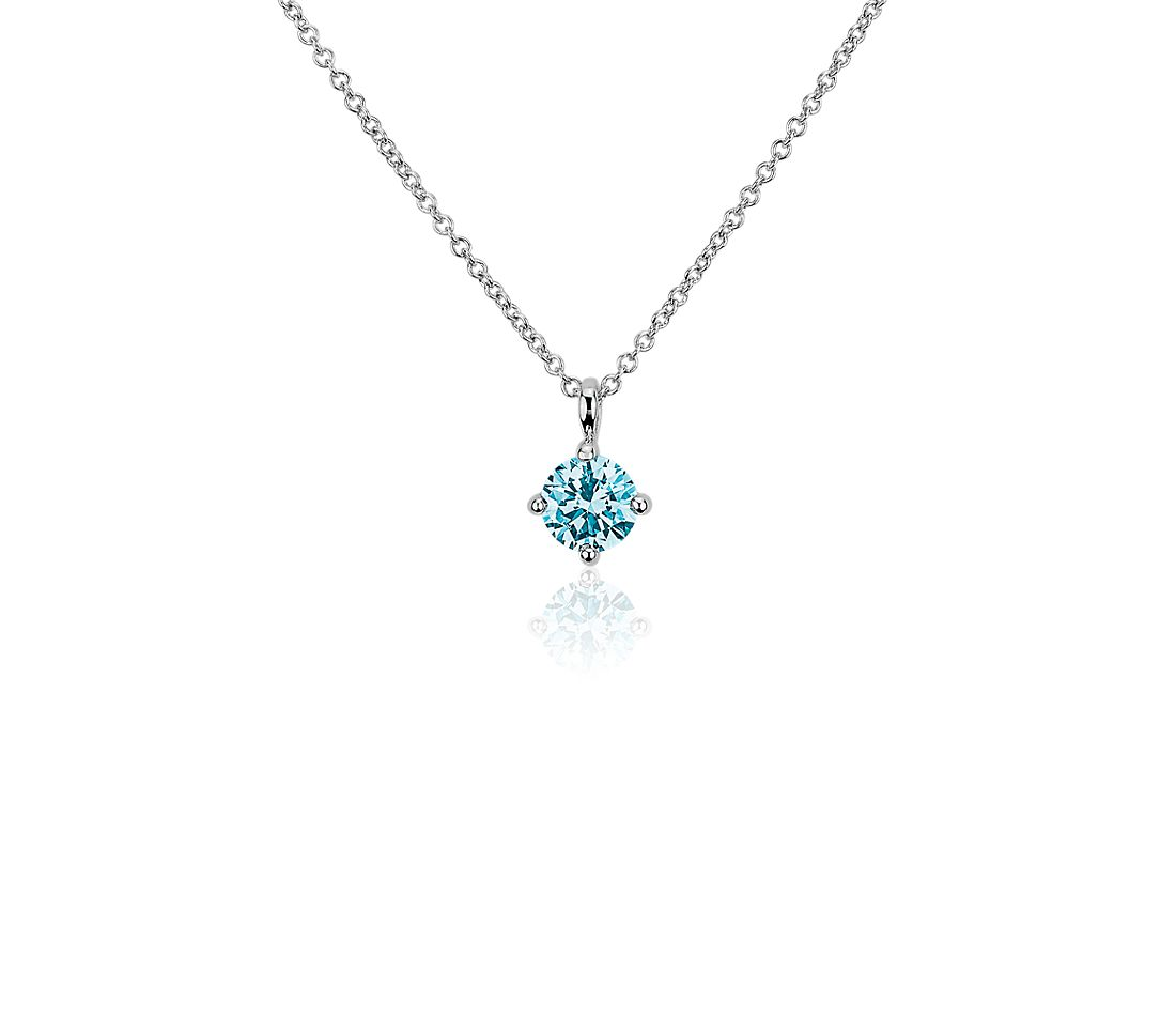 LIGHTBOX Lab-Grown Blue Diamond Round Solitaire Pendant Necklace in 14k White Gold (1/2 ct. tw.)