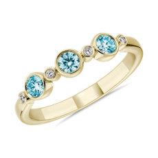 14k 黃金LIGHTBOX 實驗室培育藍色圓鑽層疊戒指(1/3 克拉總重量)